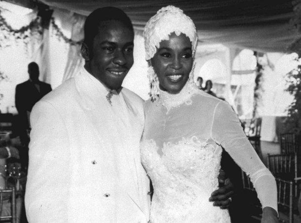 Whitney Houston on her wedding day with Bobby Brown