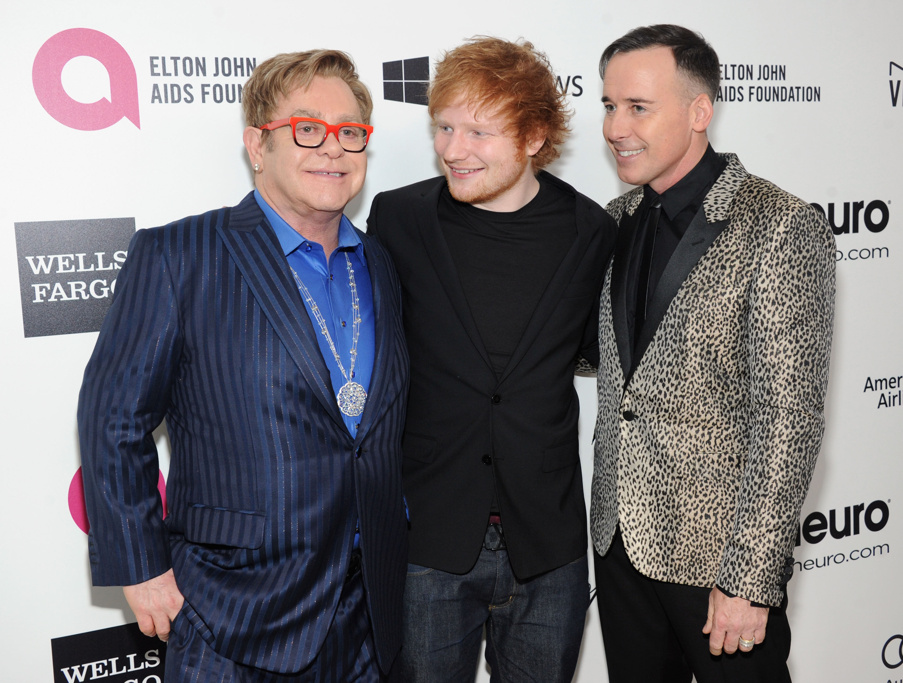 Elton John and Ed Sheeran Oscars Party 2014