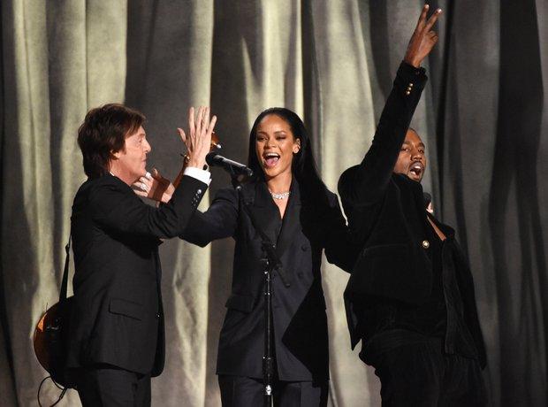 Paul McCartney, Rihanna and Kayne West perform at