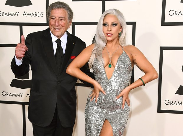 Tony Bennett and Lady Gaga arrive at the Grammy Aw