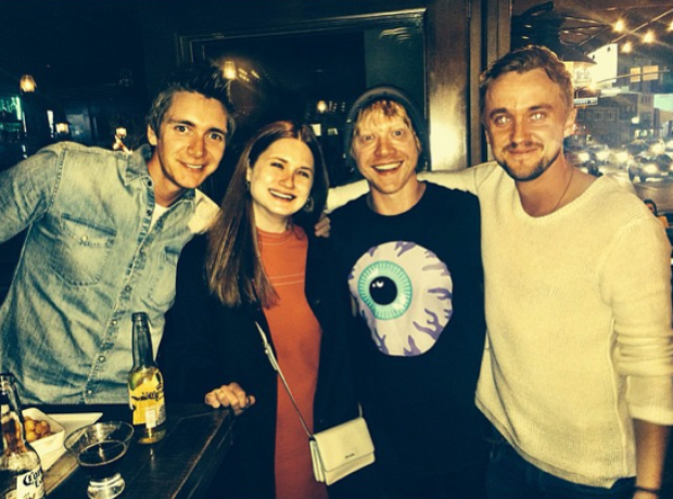 James Phelps, Bonnie Wright, Rupert Grint and Tom