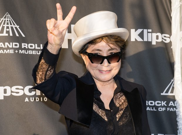 Yoko Ono on the Rock and Roll Hall of Fame red car