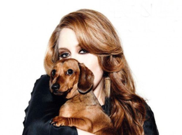 Adele and her dachshund.