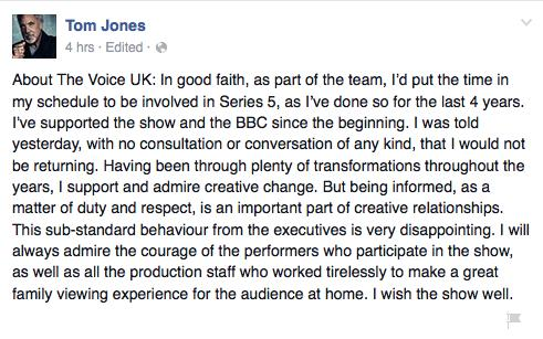 Tom Jones Facebook post the voice