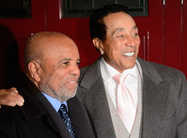 Smokey Robinson and Berry Gordy at the opening of
