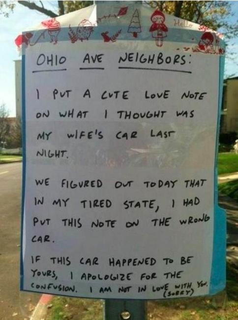 Reddit user leaves love note for wife