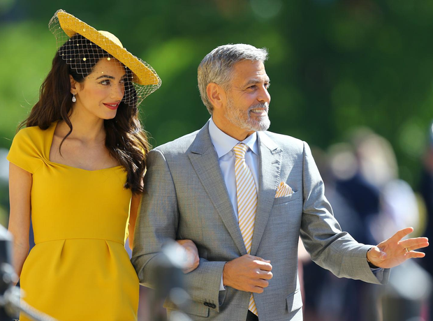 Amal Clooney and George Clooney arrive at St Georg