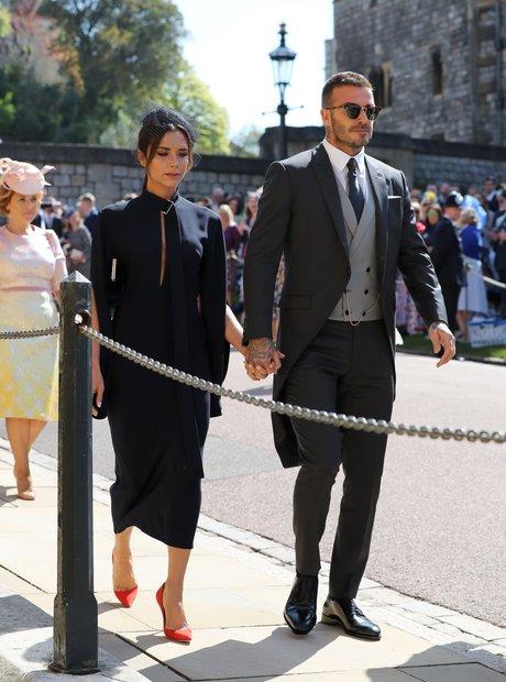 David Beckham and Victoria Beckham arrive at St Ge