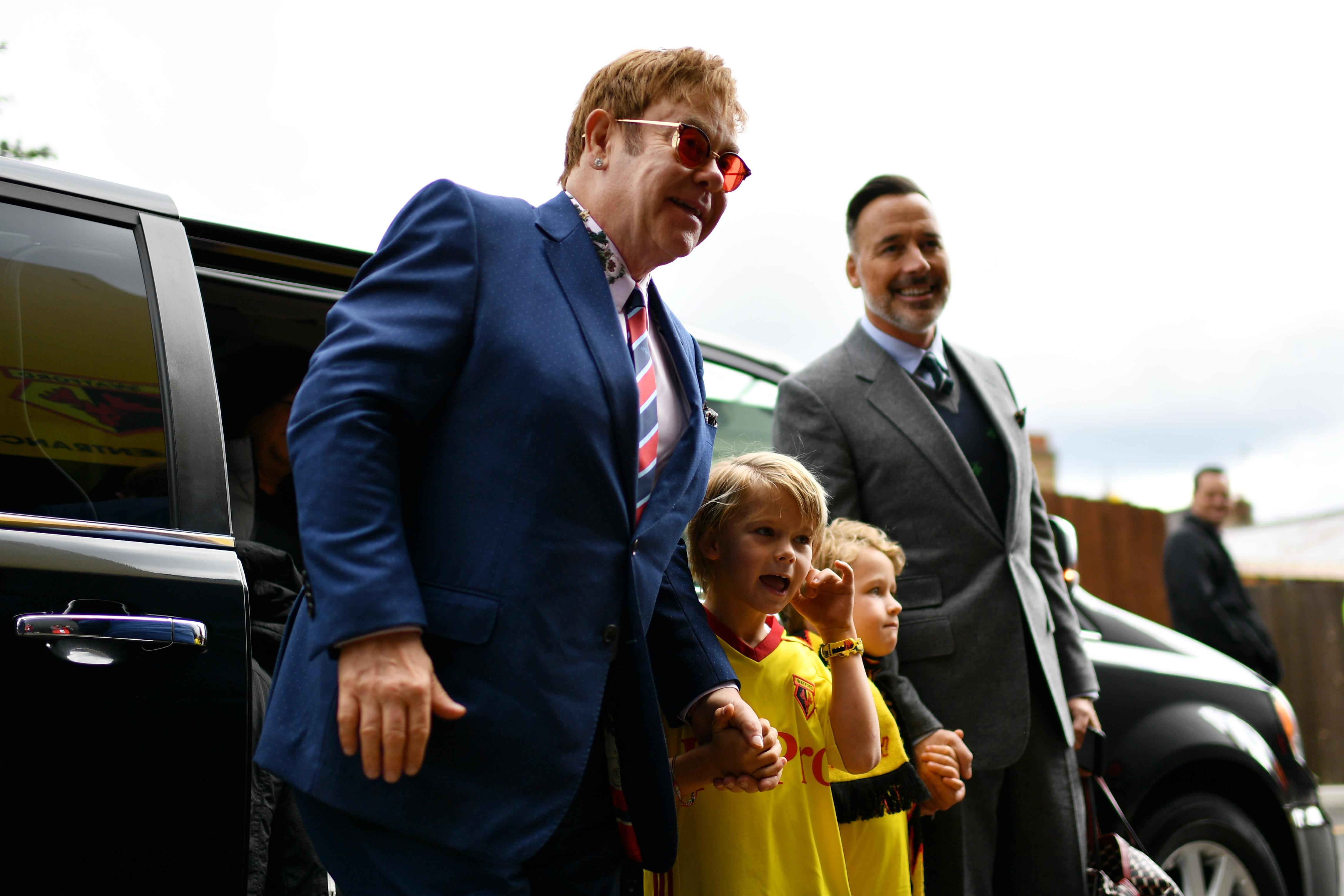 Elton and his kids at Watford
