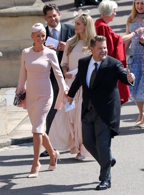 James Corden and Julia Carey arrive for the weddin