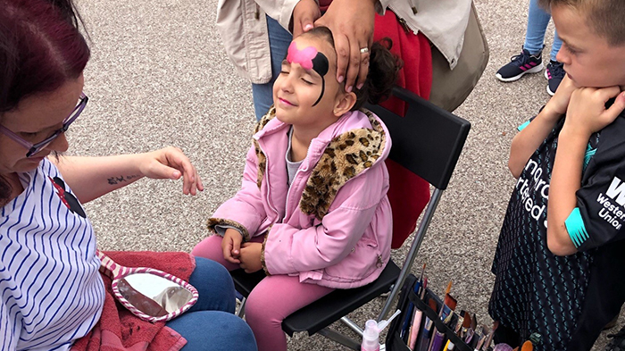 Face painting at Liverpool ONE