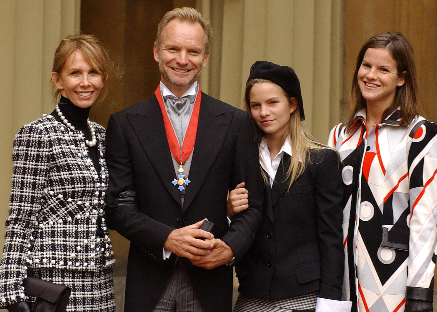 Sting with his wife Trudie Styler, and daughters C