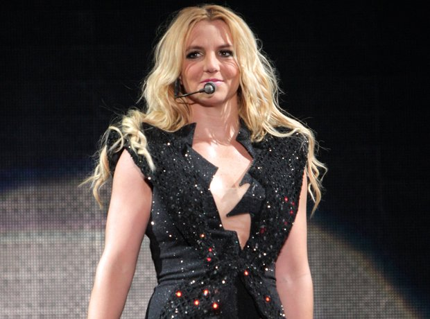 Britney Spears performs on a stage