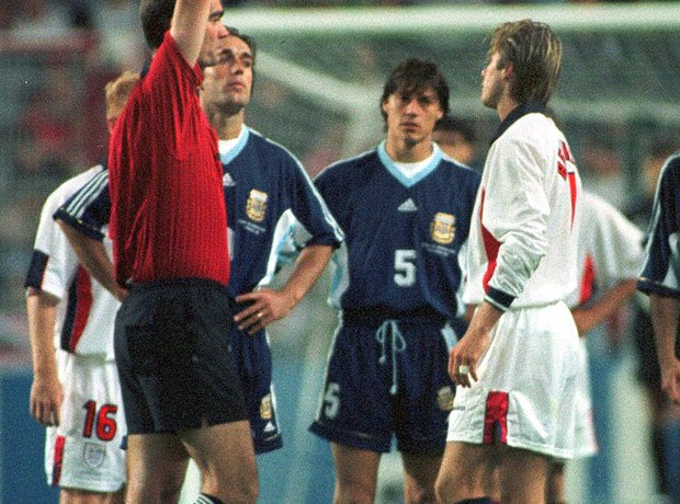 David Beckham sent off World Cup