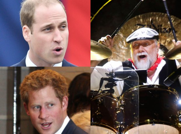 Prince William, Prince Harry and Mick Fleetwood