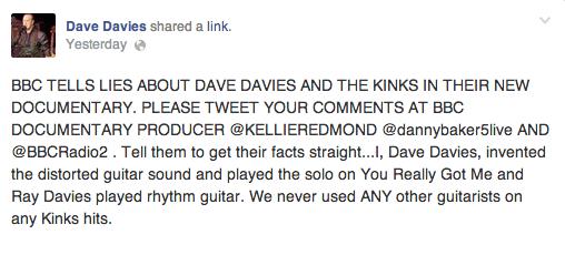 Dave Davies on Facebook
