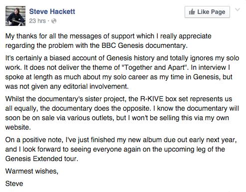 Steve Hackett Facebook