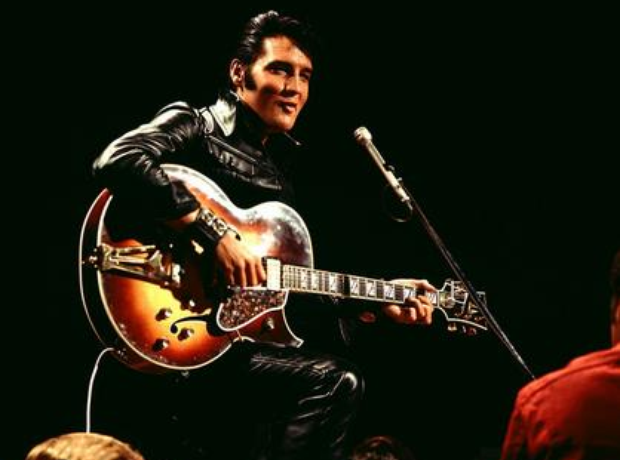 Elvis in 1968 on stage