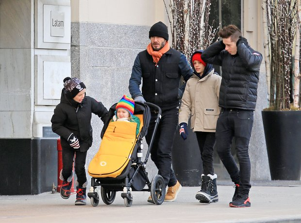 David Beckham and Kids in New York