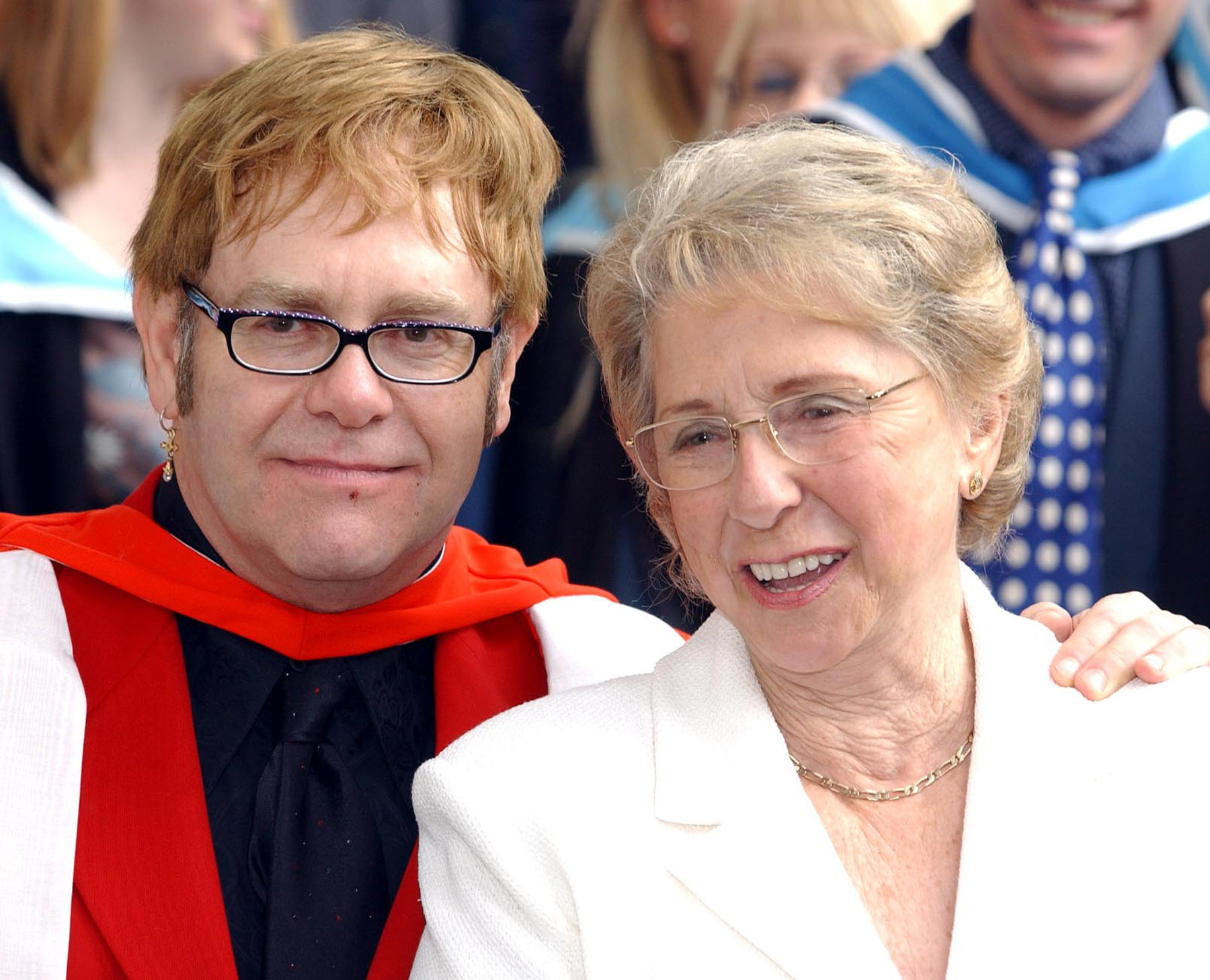 Elton John with mum Sheila Farebrother in 2002