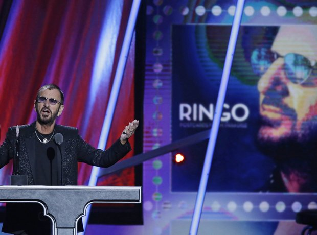 Ringo Starr speaks at the Rock and Roll Hall of Fa