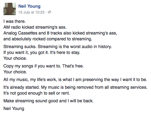 Neil Young FB screenshot