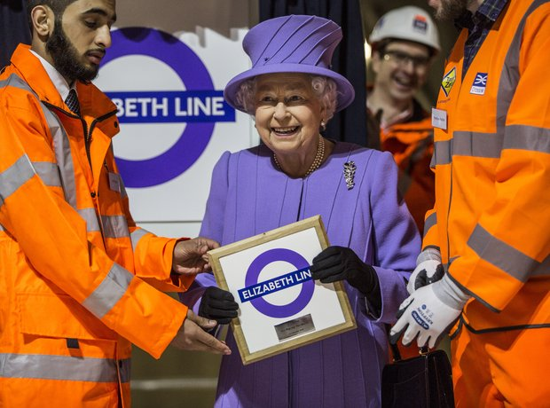 The Queen Visits The Crossrail Station Site At Bon
