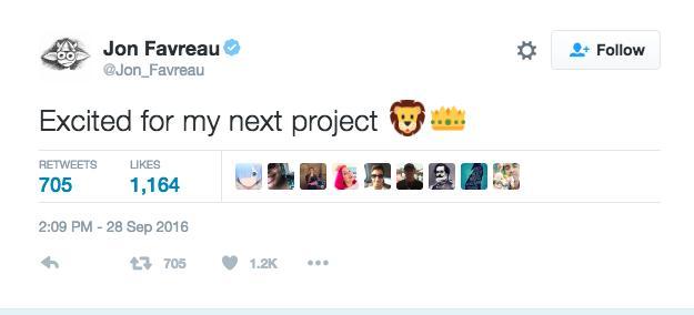Jon Favreau Lion King Tweet
