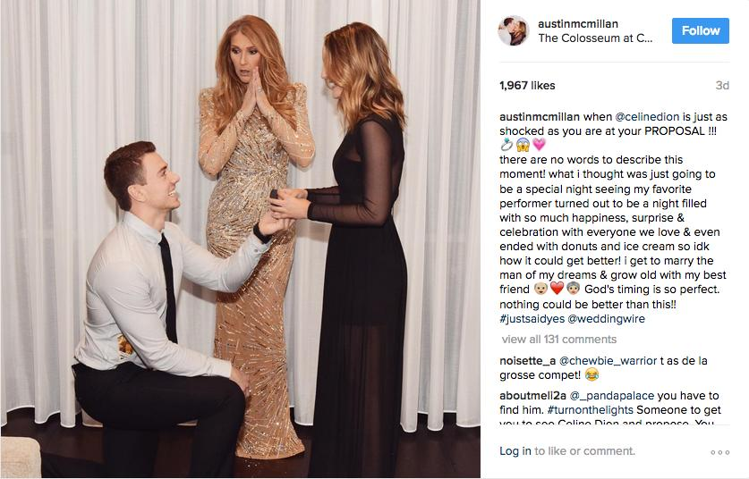 celine dion proposal backstage
