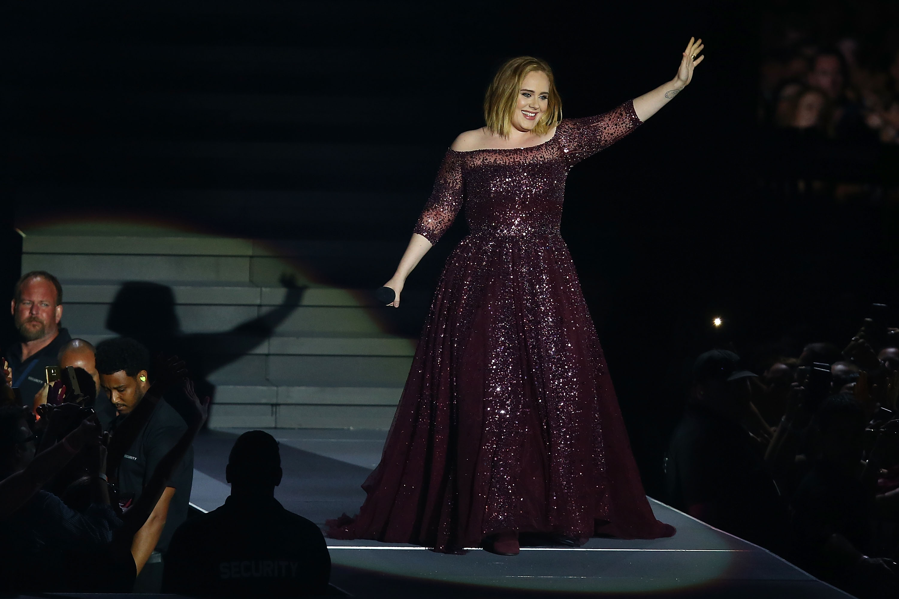 Adele performing in Perth