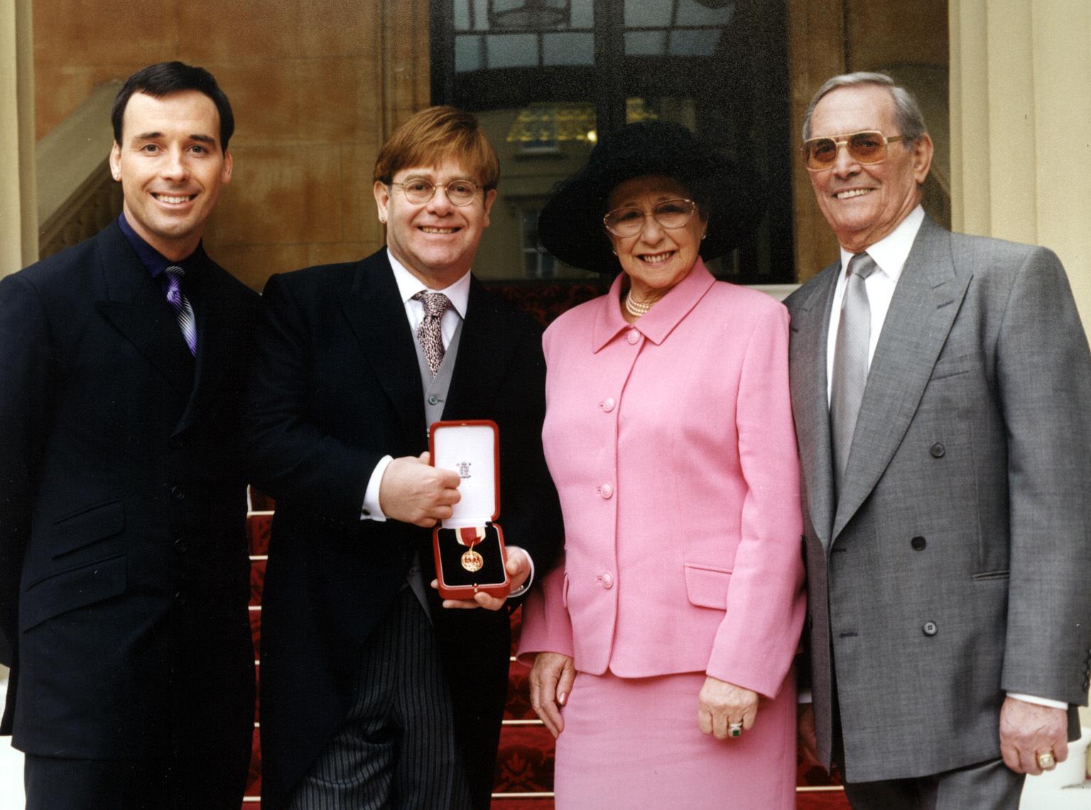 Elton John, David Furnish, Mother Sheila, Stepfath