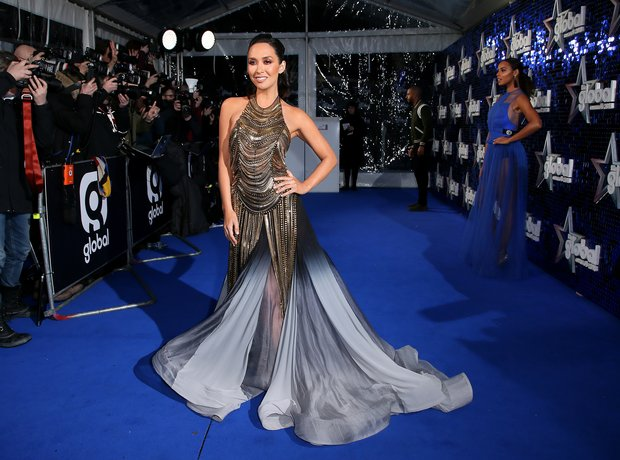 Myleene Klass a Global Awards 2018 blue carpet