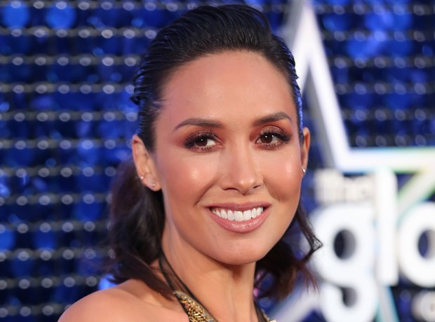 Myleene Klass Global Awards 2018 blue carpet