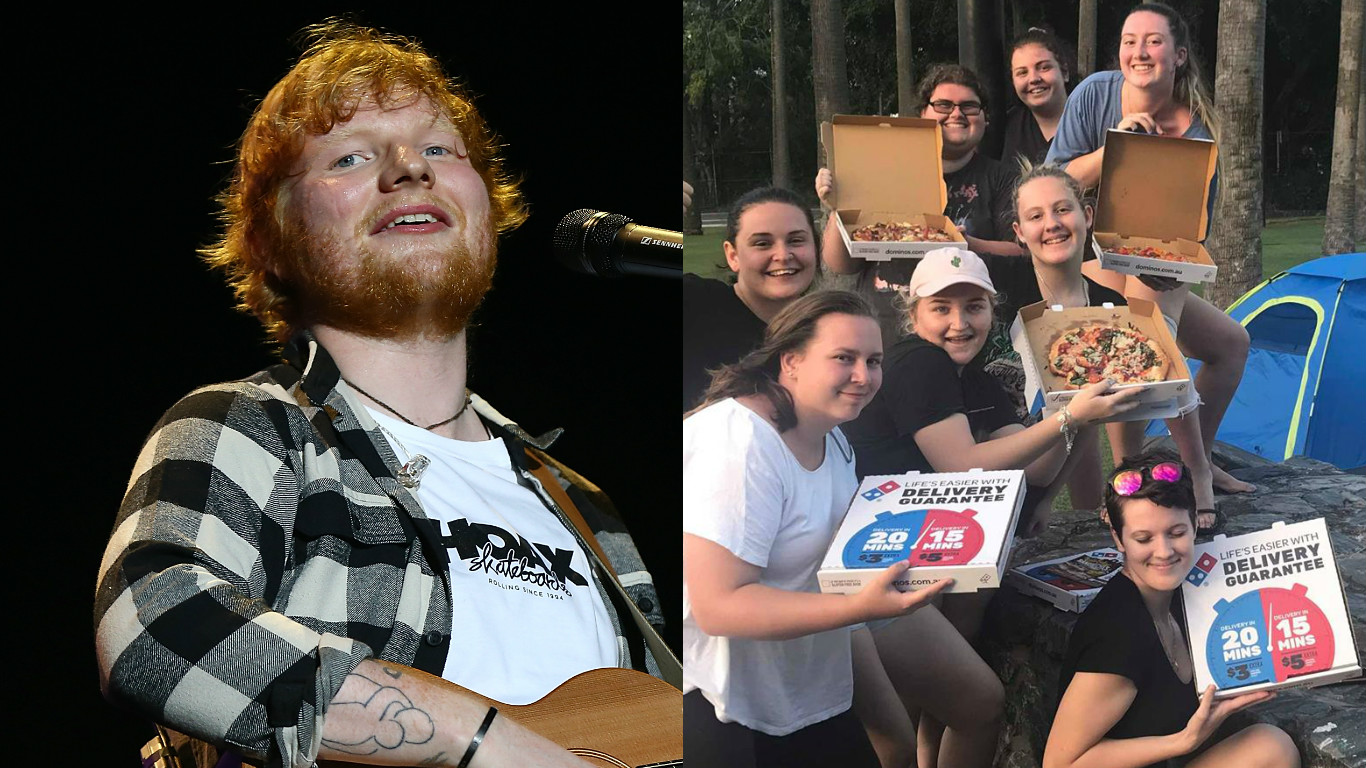 Ed Sheeran / fans pizza