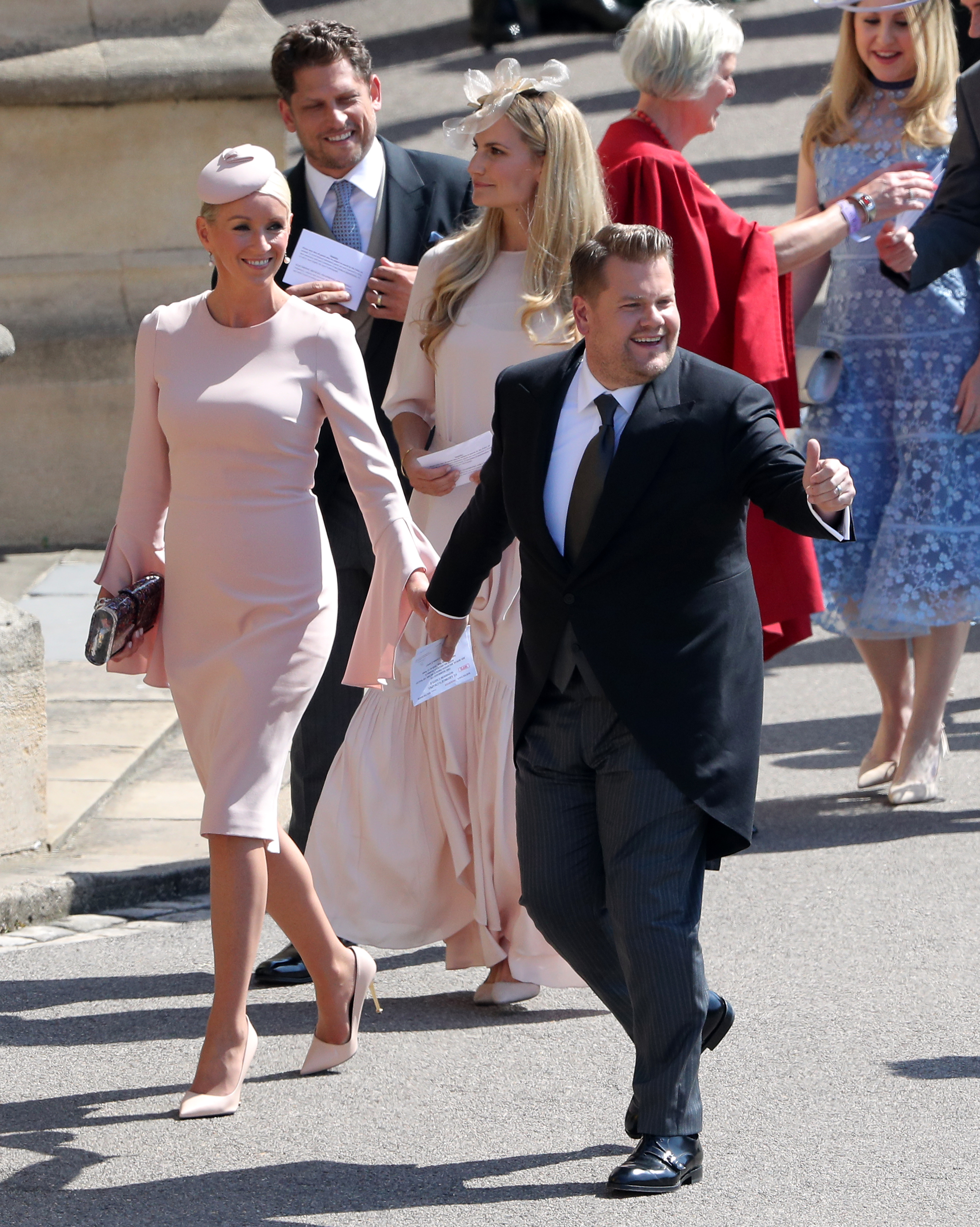 James Corden and Julia Carey arrive for the weddin