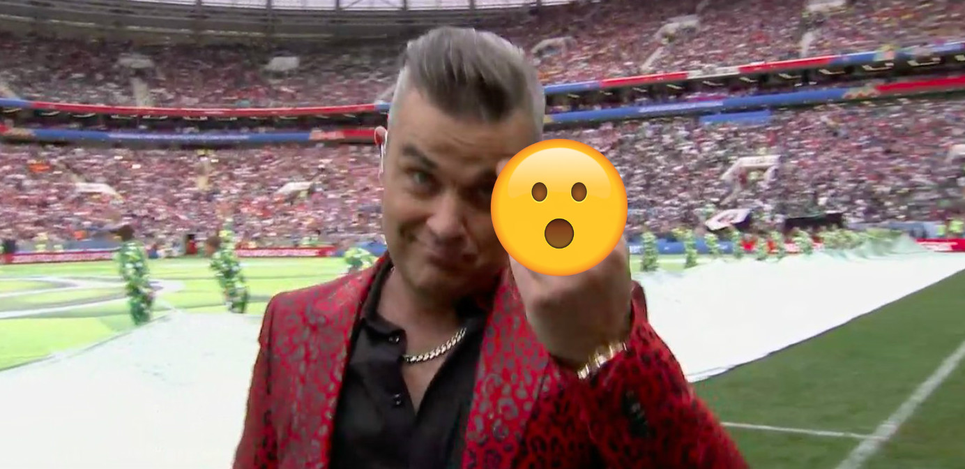 Robbie Williams middle finger
